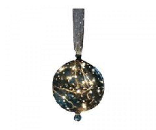 Herstal Larix Glaskugel schwarz/silber 12cm mit 10 Birnen