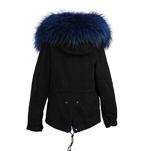 Damen PARKA XXL Kragen aus 100% ECHT PELZ ECHT FELL Jacke Mantel KURZ Schwarz 6 Farben Blau