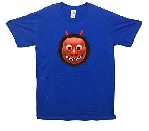 Rot Oni Mask Emoji T-Shirt Blau