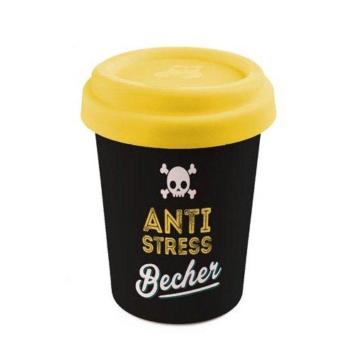 Becher To Go 350 ml, aus Bambus, Motiv: Anti Stress Becher, Maße H 11 x Ø 9,2 cm. (Münze Becher)