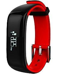 Flyox Fitness montre IP67étanche Santé Fitness tracker avec moniteur de fréquence cardiaque et de la pression artérielle Sports Bracelet intelligent podomètre Bracelet Smart Bluetooth Smart Watch pour iOS et Android (Rouge)