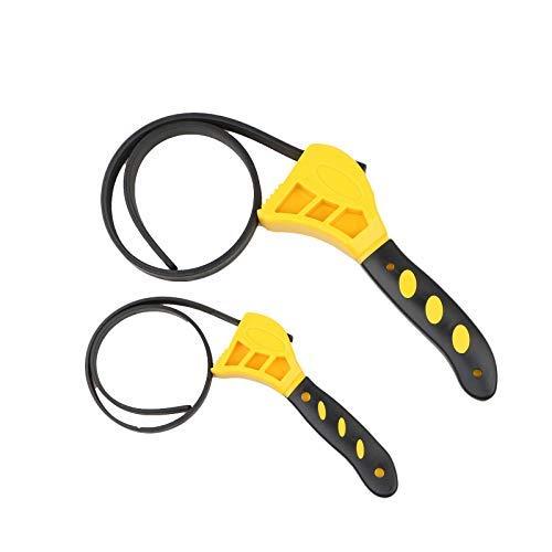 Toolwiz Bandschlüssel 2 Stück Ölfilterschlüssel Gummi Rohrzange Universal Einstellbar bis max Durchmesser Ø150 mm Schwarz Gelb