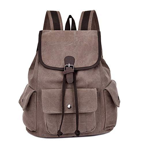 JINRONG Herrenrucksack Business-Tasche Freizeittasche Schultasche Laptoptasche Reisetasche, Leinwand Gymnasiast Jugend Schulter Herren Casual Tasche Kordelzug Handtasche (Farbe : Brown) -