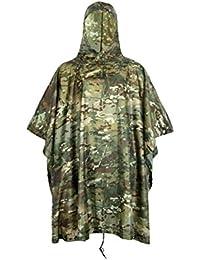 Libre Soldado impermeable y tácticos al aire libre multifunción militar camuflaje lluvia Poncho ligero y largo con capucha impermeable y refugio