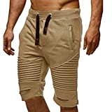 KPILP Chino Sportswear Hose Moderne Männer Hosen Jogginghose Slacks Elastische Taille Sportwear Baggy Baumwolle Hosen Shorts( Khika,L
