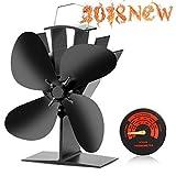 CWLAKON Poêle à Bois Fan-2018Mise à Niveau conçu pour Un Fonctionnement Silencieux 4Lames avec réchaud Thermomètre pour Bois/bûches Brûleur/Fireplace- écologique et Efficace de la Chaleur (Noir)