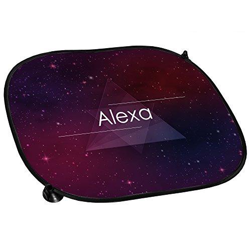 Preisvergleich Produktbild Auto-Sonnenschutz mit Namen Alexa und schönem Hipster-Motiv mit Universum | Auto-Blendschutz | Sonnenblende | Sichtschutz