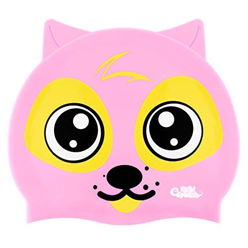 HeySplash Kinder Badekappe, Silikon wasserdichte Badekappe mit hohen Elastizität für Kinder Jungen & Mädchen (Rosa Hunde)