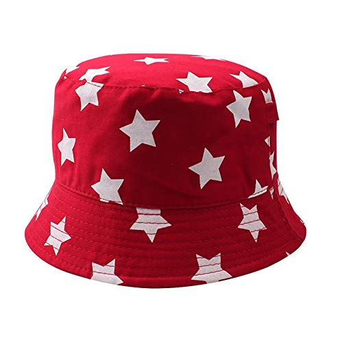 QQYZ Fashion Star Kinder Hut Casual Print Kinder Eimer Hut breiter Krempe Jungen Sonnenhut Mädchen Fischer Hut Herbst 3-6Y Kinder Kleidung 52CM-3-6 Jahre alt rot (Eimer-hut-stars)