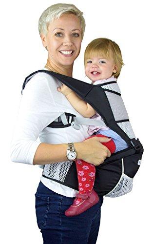 Babytrage / Kindertrage für Jungen und Mädchen - Nutzbar als Rückentrage, Bauchtrage, Tragetuch, Sling und Kraxe. Baby Carrier Schwarz unisex perfekt als Geschenk von NimNik Baby