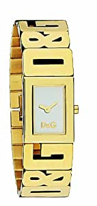 D&G Ladies Watch DW0290 with Silver Analogue Dial, Gold Colour Case and Bracelet
