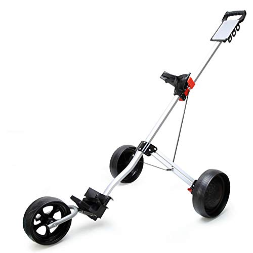 ZJY Ultraleichter Faltbarer 3-Rad-Golfwagen, Schiebewagen - Halterung aus Aluminiumlegierung, Komfortgriff, schnelle Installation, reibungslose Fahrt - Geeignet für Außenplätze - Windrad-tasche