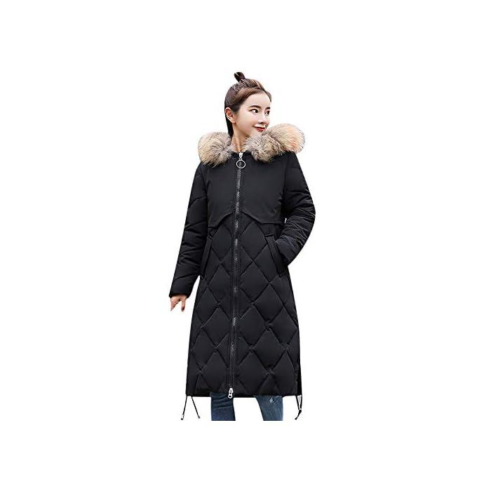 URSING Damen Lange Daunenjacke Winter Warm Mantel Jacke Faux Pelz mit Kapuze Dicke Warme Slim Fit Jacke Langen Mantel…