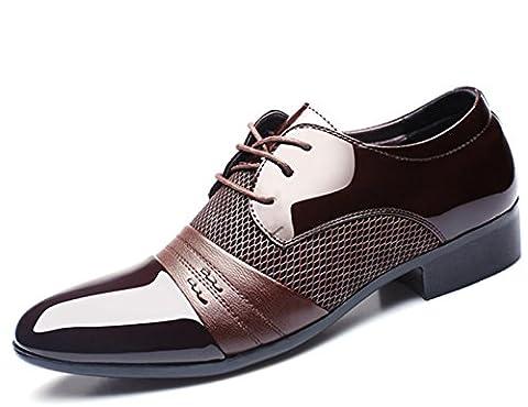 CHENSH Herrenschuhe Business Casual Sport Hochzeit Kleid Schuhe Büro Karriere Künstliche PU,Brown-38
