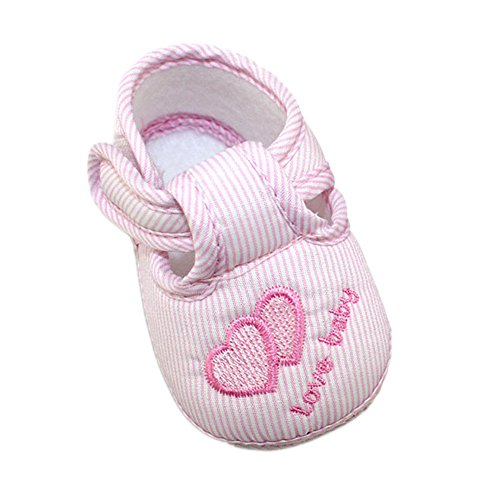 Xiangze Bebé zapatos cuna suave zapatos (L(9-12 meses), Rosa)