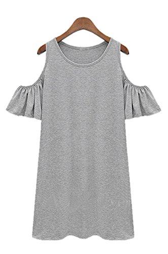 cooshional Damen sommerkleider kurz Schulterfrei Kurzarm Party Clubwear Kleid Partykleid Minikleid, , Grau
