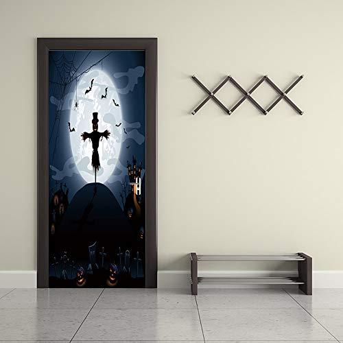 Happy Halloween Einzigartige Hexe Fledermaus Tür Aufkleber Tapete Wandaufkleber Dekoration Aufkleber Decor Ma447