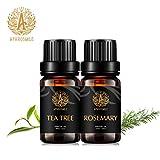 Aphorsmile EU, olio essenziale puro e naturale al 100%, albero del tè/rosmarino, 2 flaconi da 10 ml, migliore effetto di rimuovere le tossine, migliora le infezioni delle ferite, migliora la memoria.