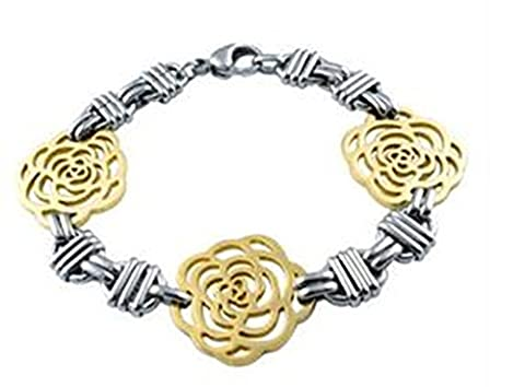 AnaZoz Fahsion Jewelry Simple Personality Women's Bracelet 18K Gold Plated Stainless Steel Length 20.3 CM Rose Lobster-claw Clasp Golden