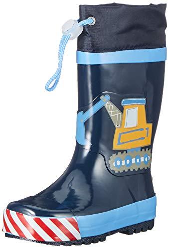 Playshoes Kinder Gummistiefel aus Naturkautschuk, trendige Unisex Regenstiefel mit Reflektoren, mit Bagger-Motiv, Blau (Bleu 17), 30/31 EU