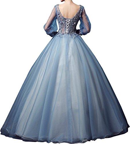 Promgirl House Damen Prinzessin ALinie Spitze Abendkleider Ballkleider  Tanzen Hochzeitskleider Lang mit Aermel Schwarz