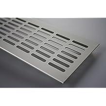 MS Beschläge ® Aluminium Lüftungsgitter Stegblech Heizungsdeckel 100mm x 200mm verschiedene Farben (Edelstahl eloxiert - E6C31)