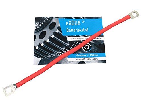 eXODA Câble de Batterie 50cm câble d'alimentation en cuivre 25 mm² avec cosses à œillets M8 Rouge 12V câble de Voiture