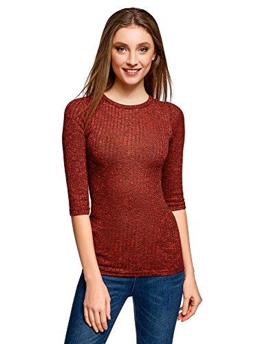 oodji Ultra Damen Gerippter Pullover mit 3/4-Ärmeln, Rot, DE 32 / EU 34 / XXS (Ärmel Pullover Gerippte)