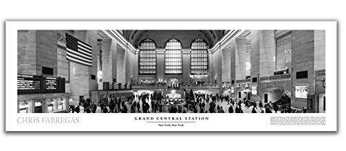 New York City Fine Art (Chris Fabregas Fine Art Photography Panorama-Poster, Motiv Grand Central Station New York City, Schwarz/Weiß)