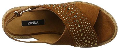 Zinda 2829, Sandales Compensées femme Marron (Brandy)