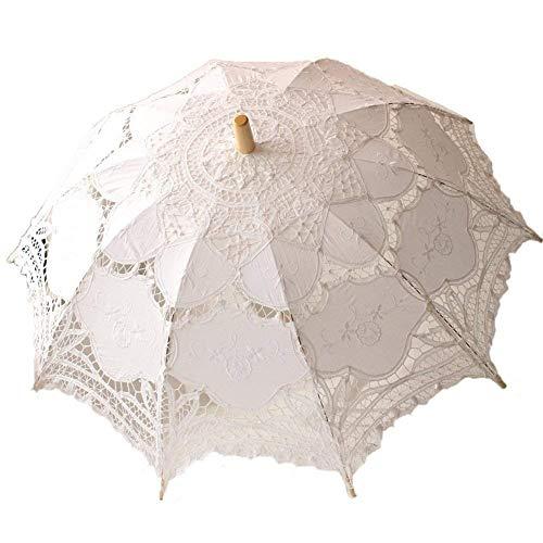Lsv-8 White Wedding Lace Parasol Umbrella Victorian Lady Costume Accessory Brida