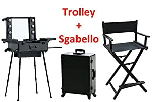 arbeitsplatz trolley make up make up spiegel beleuchtung koffer beauty case nail art stuhl. Black Bedroom Furniture Sets. Home Design Ideas