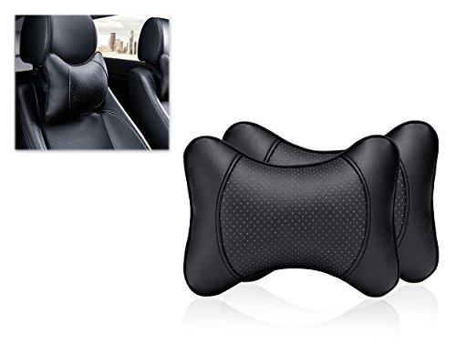 Foto de DSstyles Almohada para el cuello del coche 2 piezas Almohada de viaje de cuero de la PU para el apoyo del cuello del reposacabezas para el asiento del coche - Negro