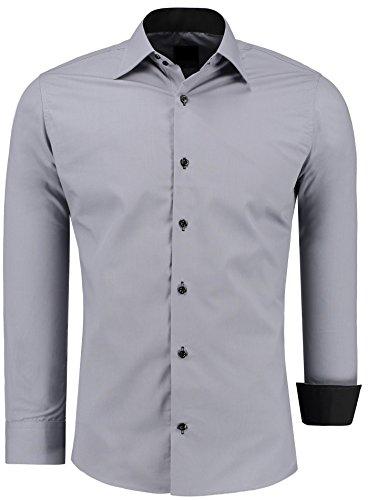 Herren-Hemd – Slim Fit – Bügelfrei / Bügelleicht – Für Business Freizeit Hochzeit – J'S FASHION - grau - XL
