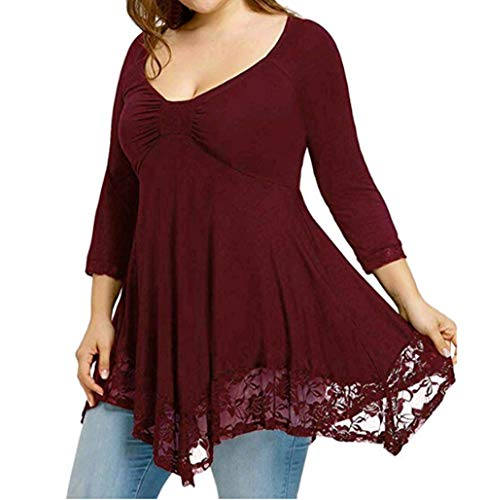 Xmiral Women Blouse Large Size Lace Shirt Plain Long Sleeve O-Neck Casual Long Shirt Tops