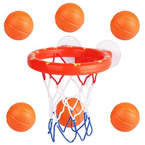 NUOBESTY Badespielzeug Basketball Hoop und 6-Bälle Spielset Badewanne Spiel für Kinder - Basketball-spiel Ball