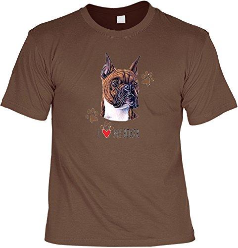 ... Tier-Motiv für Hundefreunde Hellbraun. Hunde Shirt/ T-Shirt mit Dog  Aufdruck: I love my Boxer - tolles