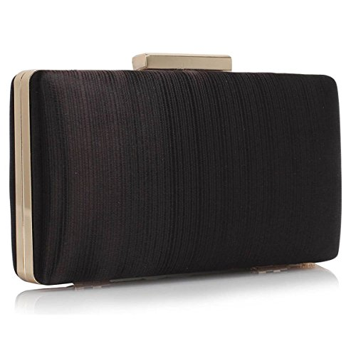 Xardi London clutch rigida da donna, compatta, in raso, misura media, adatta per spose, balli, serate. Black