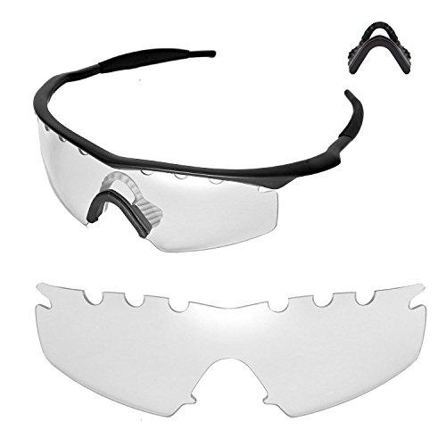 Walleva Entlüftete Ersatzlinsen oder Linsen mit schwarzem Nasenpolster für Oakley M Frame Strike Sonnenbrille - 20 Optionen (Klar + Nasenpolster)