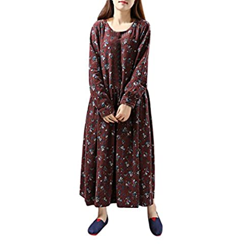 irina Femmes Robe Florale Loose manches longues Casual Taille plus (2XL, Rouge)