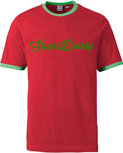 EZYshirt® Sugardaddy Herren Rundhals Ringer T-Shirt Rot/Grün/Grün