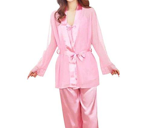 Mme Manches Longues Sexy Trois Pièces Chemise à Manches Longues Pyjamas Occasionnels pink