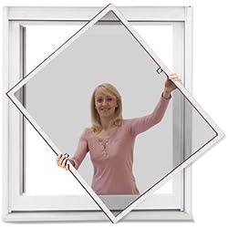 JAROLIFT Profi Line Mosquitera con marco de aluminio para ventana 110cm x 150cm blanca - Montaje sin perforación