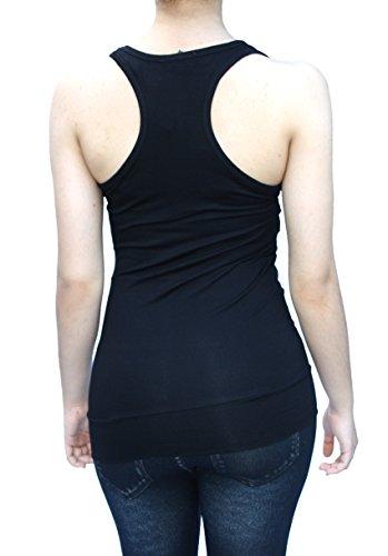 Damen Tank Top Trägershirt Ringer Rücken Racerback T-Shirt Größe 34/36/38 Farbe Schwarz