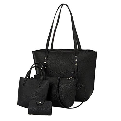 4 pcs borse donne moda,♚meibax♚4 pezzi donna modello in pelle borsa tracolla + crossbody bag + borsetta + portafoglio (nero)