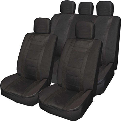 ALL BLACK Universal PU Leather Type Car Seat Covers Full Set