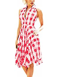 3013f21e5 Freestyle Verano Casual Enrejado Irregular Camisas Vestido Mujer Moda  Delgado Solapa Sin Mangas Midi Vestidos de