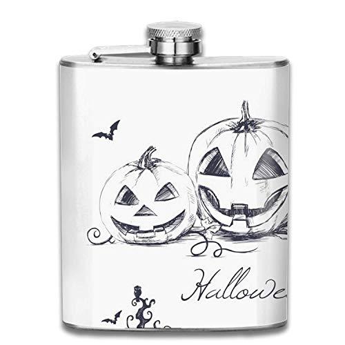 Feiertags-Halloween-Flasche 7-Unzen-erstklassige Schuss-Flaschen 304 höchste Nahrungsmittelgrad-Edelstahl-auslaufsichere dünne Taschenflaschen (Feiertag Ein Ist Halloween)