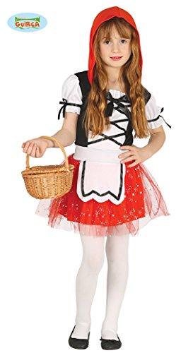 Rosso Kostüm Cappuccetto - Guirca Rotkäppchen Kleid für Mädchen Märchenkostüm Fasching in Gr. 98-128, Größe:122/128
