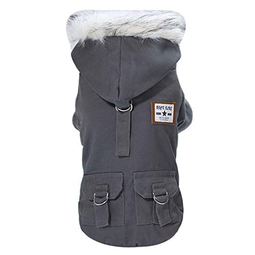 HUIFA Hundekleidung Herbst Und Winter Haustierbekleidung Teddy Schnauzer Baumwolle Military Baumwollmantel A (Farbe : Gray, größe : XL)